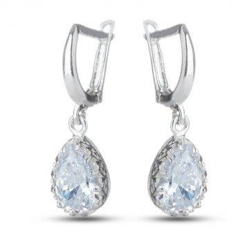 Сребърни дамски обеци с бели камъни 4238