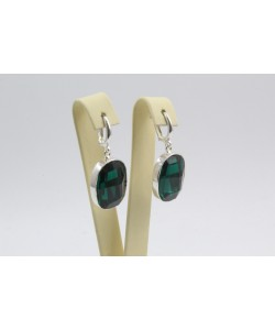 Сребърни дамски обеци със Swarovski Elements Зелен 4238