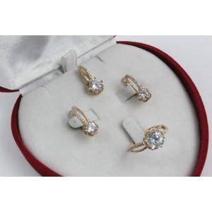 Дамски златен комплект Еделвайс пръстен обеци медальон 4244