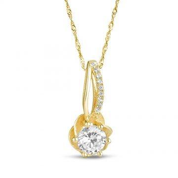 Дамско златно колие Еделвайс жълто злато бели камъни 4246