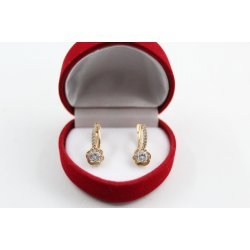 Дамски златни обеци Еделвайс жълто злато бели камъни 4245
