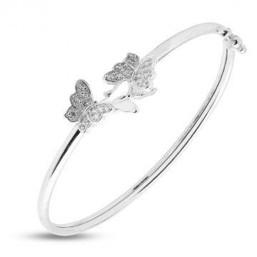 Дамска сребърна твърда гривна с пеперуди 4249