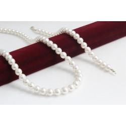 Дамски сребърен комплект с бели перли Swarovski Elements 4251