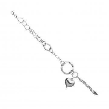 Дамска сребърна гривна с висящо сърце 4255