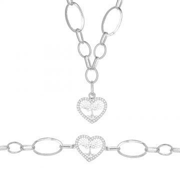 Дамски сребърен комплект Дървото на Живота колие гривна 4260