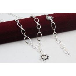 Дамски сребърен комплект Черното Слънце колие гривна 4265