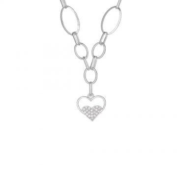 Дамско сребърно колие Звездна Любов 1 бели камъни 3948