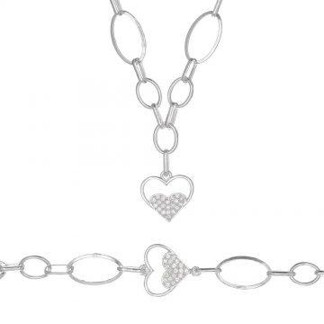 Дамски сребърен комплект Звездна Любов 1 колие гривна 4268