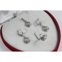 Дамски сребърен комплект Трендафил обеци пръстен медальон 4281