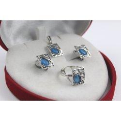 Дамски сребърен комплект Лунна Нощ обеци пръстен медальон 4281