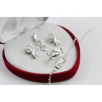 Дамски сребърен комплект Безкрайност обеци пръстен медальон гривна 4285