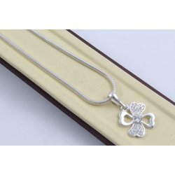 Дамско сребърно колие с бели камъни Четирилистна Детелина 4291