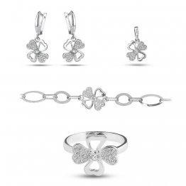 Дамски сребърен комплект Детелина обеци пръстен медальон гривна 4290