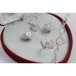 Дамски сребърен комплект Сърце обеци пръстен медальон гривна 4295