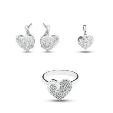Дамски сребърен комплект Сърце 1158