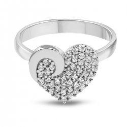 Дамски сребърен пръстен Сърце бели камъни 4297