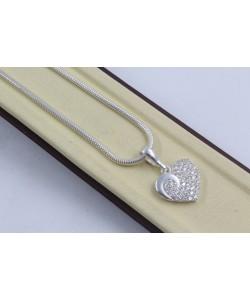 Дамско сребърно колие Сърце 4296
