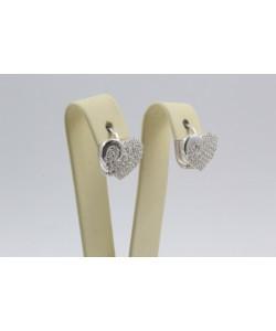Дамски сребърни обеци Сърце бели камъни 4298