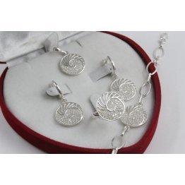 Дамски сребърен комплект Шейла обеци пръстен медальон гривна 4300