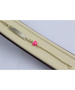 Златна детска гривна с плочка и розово сърце жълто злато 4306