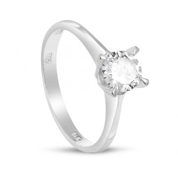 Дамски сребърен годежен пръстен с бели камъни 4311