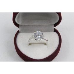 Дамски сребърен годежен пръстен с бели камъни 4320