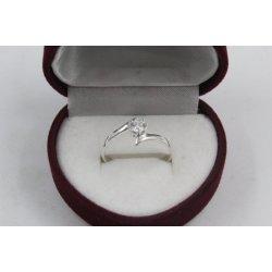 Дамски сребърен годежен пръстен с бял камък 4321