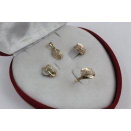 Дамски златен комплект Бонбон Мини пръстен обеци медальон 4329