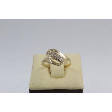 Дамски златен пръстен Бонбон Мини жълто злато бели камъни 4332