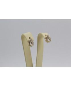 Дамски златни обеци Бонбон Мини жълто злато бели камъни 4330