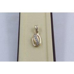 Дамски златен медальон Бонбон Мини жълто злато бели камъни 4331