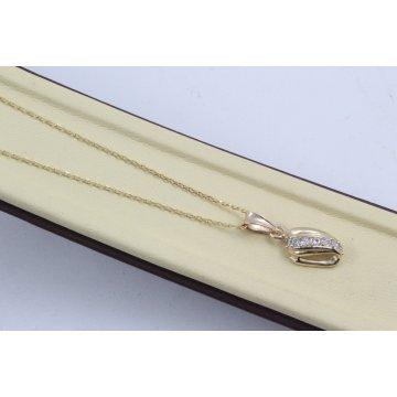 Дамско златно колие Бонбон Мини жълто злато бели камъни 4331