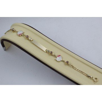 Златна детска гривна с плочка и Хелоу Кити 4333