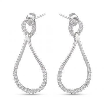 Дамски сребърни обеци с бели камъни 4338