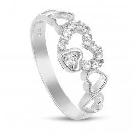 Дамски сребърен пръстен със сърца и бели камъни 4340