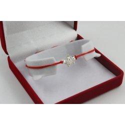 Сребърна регулираща се гривна с червен конец и корона 4341