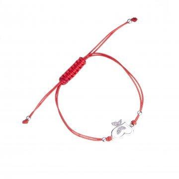 Сребърна регулираща се гривна червен конец сърце с крила бели камъни 4342