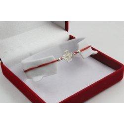 Сребърна регулираща се гривна червен конец детелина с бели камъни 4343
