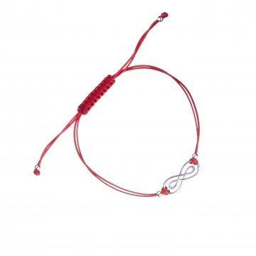 Сребърна регулираща се гривна червен конец безкрайност 4346
