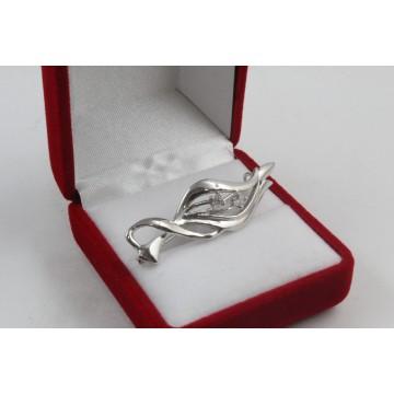 Сребърна брошка с бели камъни 4347