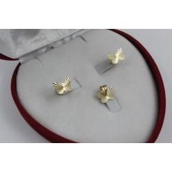 Дамски златен комплект Пеперуда обеци медальон 4351