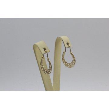 Златни дамски обеци тип халки Ретро жълто злато 4352