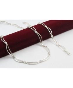 Дамски сребърен комплект бели камъни колие гривна 4354