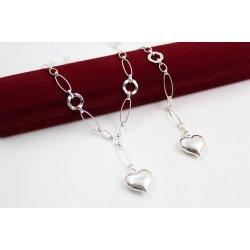 Дамски сребърен комплект колие гривна Сърца 4354