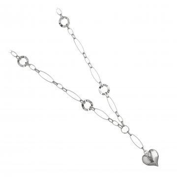 Дамско сребърно колие със сърце 3901
