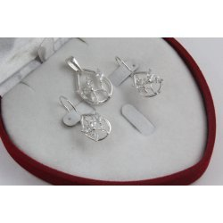 Сребърен дамски комплект с бели камъни обеци мдальон 4359
