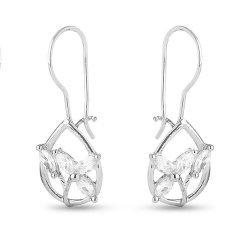 Дамски сребърни обеци с бели камъни 4434