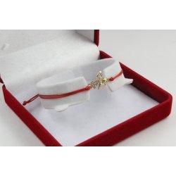 Златна регулираща се гривна с червен конец и ангел с бели камъни 4362