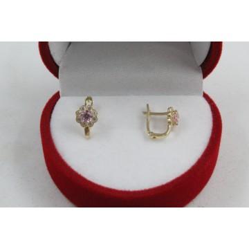 Златни детски обеци цветя жълто злато бели и розови камъни 4365