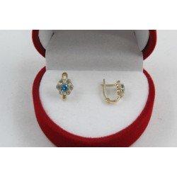 Златни детски обеци цветя жълто злато бели и сини камъни 4366